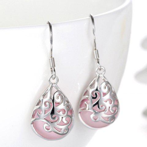 Online Pair of Vintage Faux Opal Water Drop Earrings - PINK  Mobile