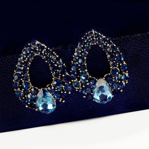 Fashion Water Drop Fake Crystal Hollowed Earrings - BLUE  Mobile