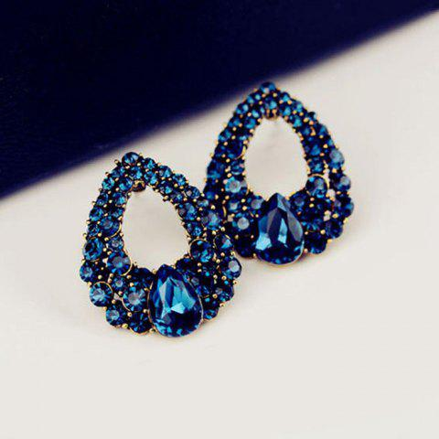 Unique Water Drop Fake Crystal Hollowed Earrings - BLUE  Mobile