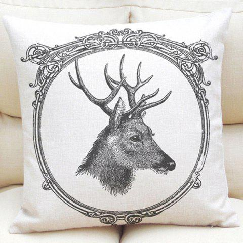 Latest Pencil Sketch Deer Pattern Square Shape Linen Pillowcase (Without Pillow Inner)