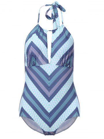 Hot Sexy Halter Backless Cut Out Chevron One-Piece Swimwear For Women LIGHT BLUE L