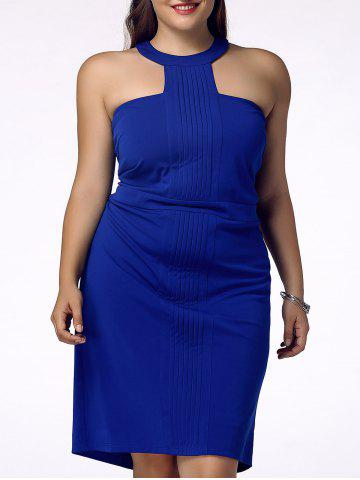 Discount Stylish Plus Size Racerfront Backless Sheath Dress For Women BLUE 4XL