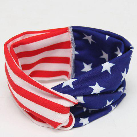Trendy Stylish Toddler Girls Baby American Flag Pattern Cross-Over Headband