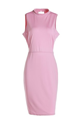 Chic Sleeveless Hollow Out Knee Length Prom Bodycon Dress PINK 2XL