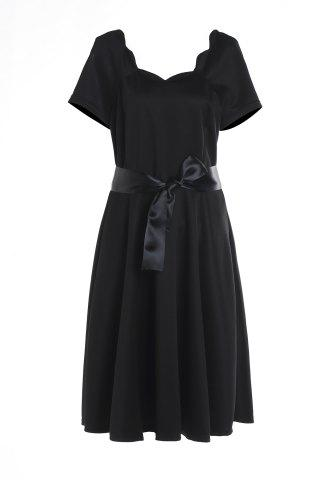 Unique Short Sleeve Prom Ball Gown Dress BLACK M