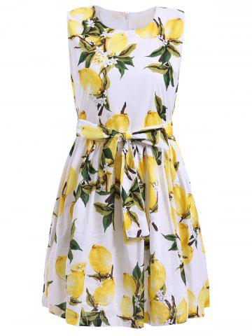 Fashion Trendy Women's Sleeveless Lemon Print Bowknot Embellished Mini Dress