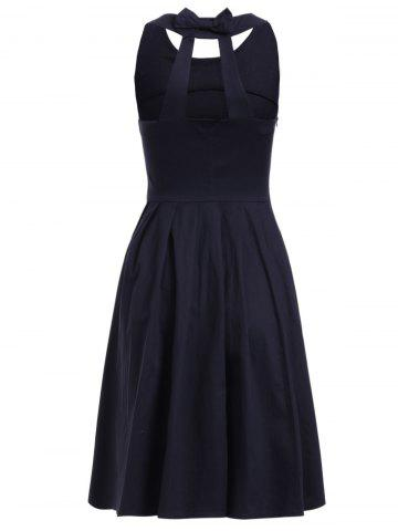 Affordable Vintage Style Jewel Neck Sleeveless Pure Black Dress For Women