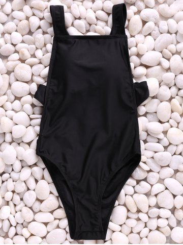 Online Sexy Straps Solid Color Backless One Piece Swimwear For Women