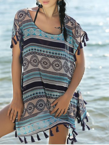 Unique Stylish Scoop Neck Short Sleeve Ethnic Print Women's Cover Up Dress