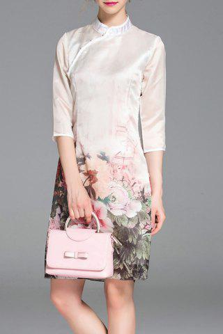 Online Mandarin Collar Flower Printed Cheongsam Dress