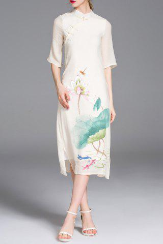 Hot Cheongsam Midi Dress With Chinese Painting