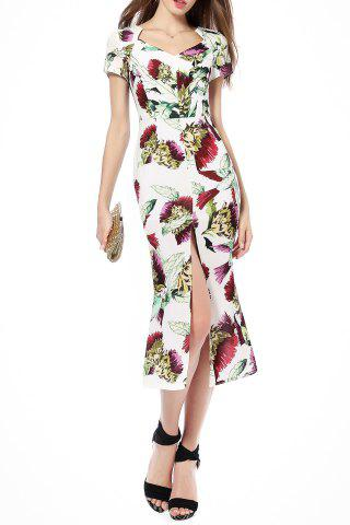 Trendy Front Slit Floral Print Mermaid Dress