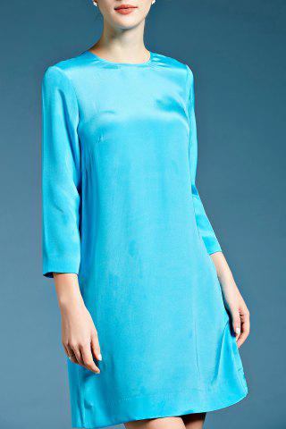Latest Three Quarter Sleeve Solid Color Silk Shift Dress