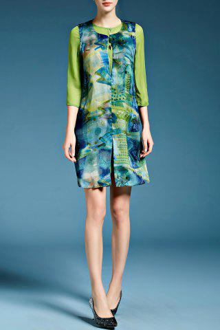 Affordable Fish Print Faux Twinset Dress in Green