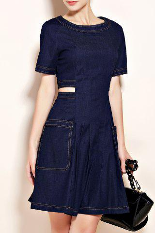 Cheap Big Pocket Cutout Waist Denim Dress