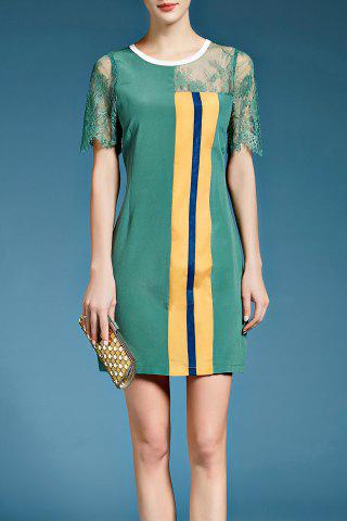 Hot Vertical Stripe Lace Inset Silk Dress