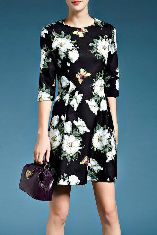 Store A-Line Floral Dress in Black