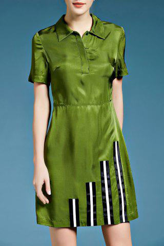 Shop Short Sleeve Stripe Patched Silk Shirt Dress
