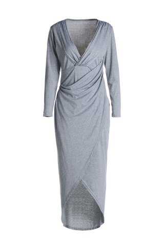 Best Sexy Style Plunging Neck Cross High Split Long Sleeve Dress For Women LIGHT GRAY S