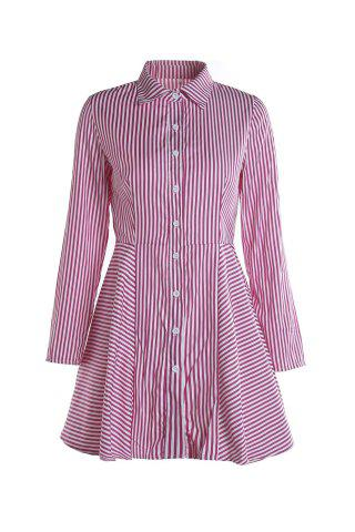 Online Stylish Shirt Collar Long Sleeves Striped Asymmetrical Women's Dress RED S