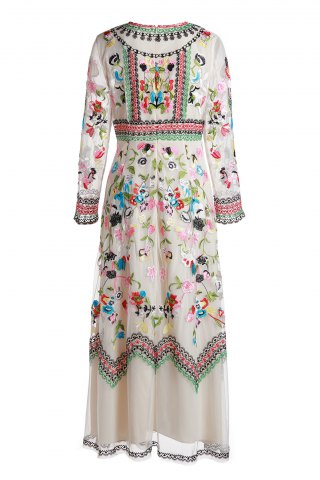 Gorgeous Round Neck Long Sleeve Floral Embroidery Women's Evening Dress