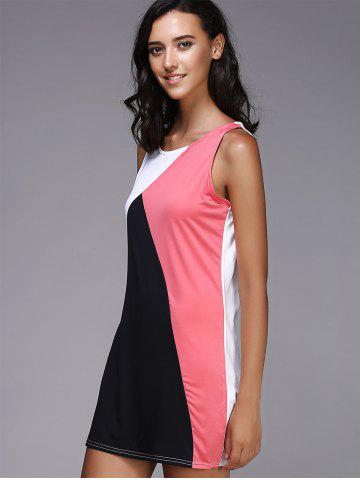Discount Tank Color Block Casual Daytime Dress Outfit - XL BLACK AND PINK Mobile