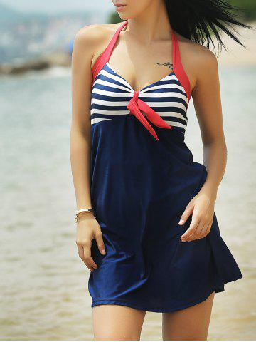 Halter Sailor Swimdress Stripe Tankini Top Bathing Suit - Blue And Red - M