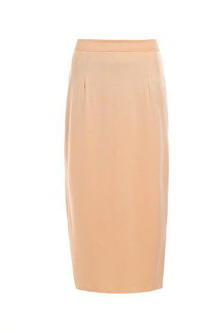 Store Stylish High Waisted Pure Color Bodycon Women's Skirt BEIGE S