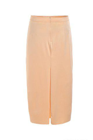 Womens Stylish High Waisted Pure Color Bodycon Women's Skirt - M BEIGE Mobile