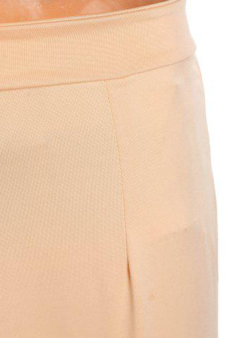 Online Stylish High Waisted Pure Color Bodycon Women's Skirt - M BEIGE Mobile