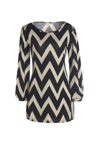Chic Full Sleeve Zig Zag Dress KHAKI L