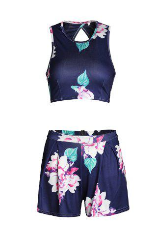 Women Floral Print Crop Top and High-Waisted Shorts Twinset - S BLUE Mobile