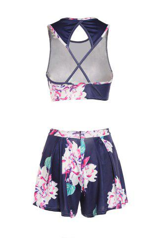 New Floral Print Crop Top and High-Waisted Shorts Twinset - S BLUE Mobile