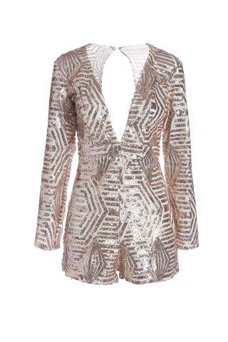 Plunging Neck Long Sleeve Sequin Backless Cut Out Romper - Champagne - M