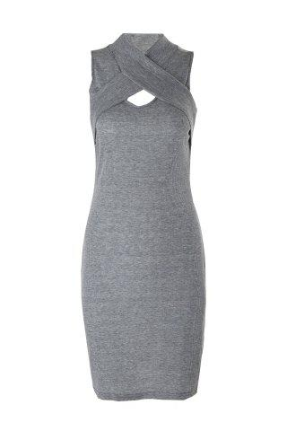 Hot Sleeveless Bodycon Ribbed Knit Bandage Dress - XL GRAY Mobile