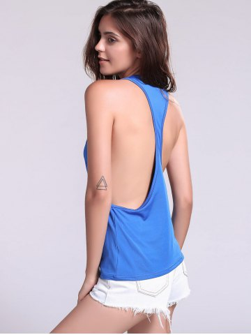 Best Backless Fropped Armhole Tank Top - L SAPPHIRE BLUE Mobile