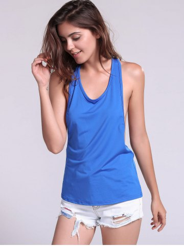 Chic Backless Fropped Armhole Tank Top - L SAPPHIRE BLUE Mobile