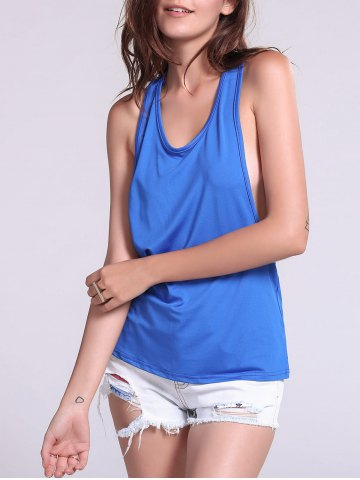 Chic Backless Fropped Armhole Tank Top SAPPHIRE BLUE M