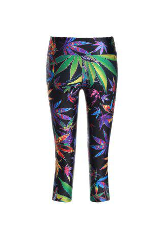 Affordable Chic Print Color Block Elastic Stretchy Yoga Pants For Women - ONE SIZE(FIT SIZE XS TO M) COLORMIX Mobile