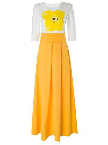 New Stylish Round Neck Short Sleeve Yellow Floral Women's Maxi Dress YELLOW XL