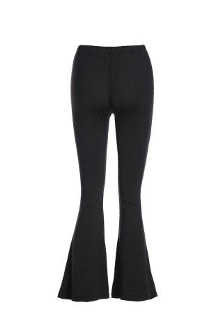 Latest Stylish Solid Color Slimming Women's OL Style Bell Bottom Pants BLACK 2XL