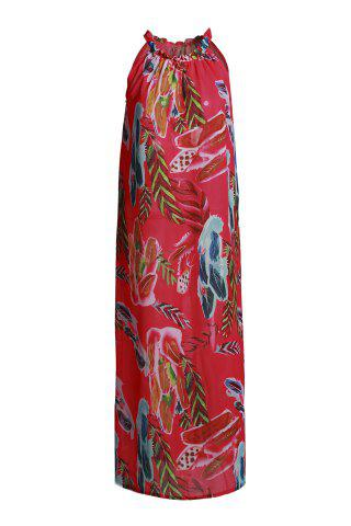 Refreshing Round Neck Sleeveless Floral Print Women's Flare Dress - Red - M
