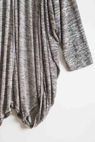Discount Stylish Open Front Batwing Sleeve Loose-Fitting Women's Long Cardigan - M GRAY Mobile