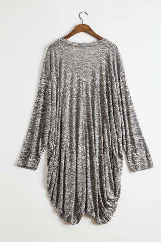 Unique Stylish Open Front Batwing Sleeve Loose-Fitting Women's Long Cardigan - M GRAY Mobile