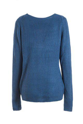 Fancy Simple Style Plunging Neck Long Sleeve Pure Color Women's Jumper - ONE SIZE(FIT SIZE XS TO M) SAPPHIRE BLUE Mobile