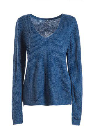 Outfits Simple Style Plunging Neck Long Sleeve Pure Color Women's Jumper - ONE SIZE(FIT SIZE XS TO M) SAPPHIRE BLUE Mobile