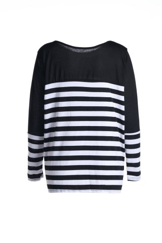 Stylish Boat Neck Long Sleeve Striped Women's T-Shirt