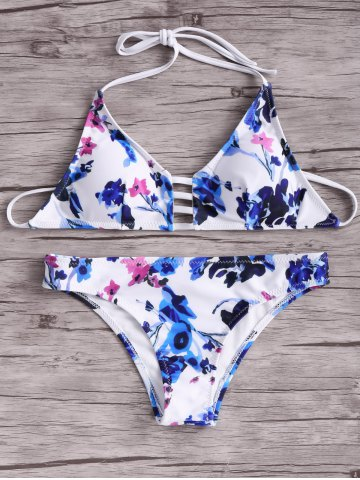 Outfits Fashion Halter Floral Bikini Set For Women BLUE AND WHITE AND RED XL