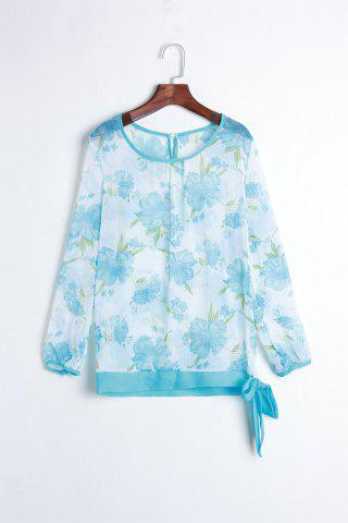 Women's Floral Print Pattern Chiffon Casual Puff Long Sleeve Tops Blouses Shirt - Sky Blue - One Size