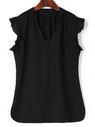 Women's Charming V-Neck Lace Black T-Shirt